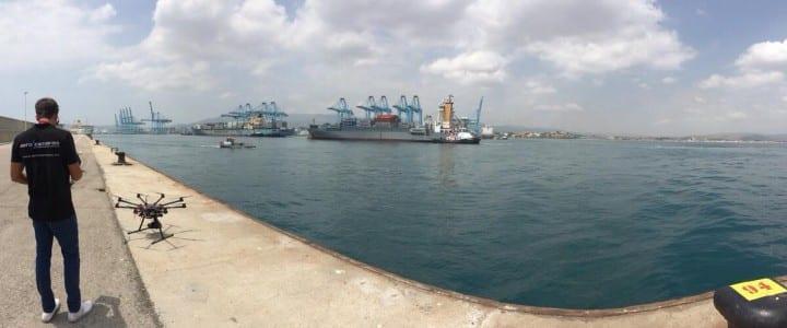 Grabación aérea en el Puerto de Algeciras