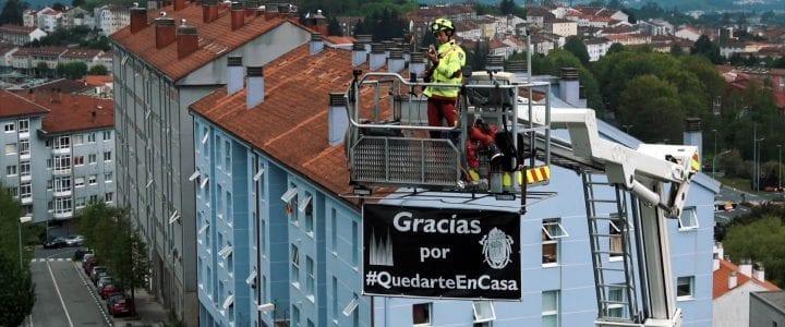 Aerocamaras graba el emotivo concierto de los bomberos en Santiago de Compostela